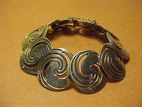 VINTAGE HECTOR AGUILAR 940 SILVER CIRCLES SWIRL BRACELET