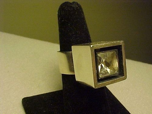 VINTAGE HANS HANSEN DENMARK STERLING ROCK CRYSTAL BLACK ENAMEL RING
