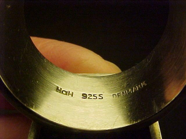 VINTAGE HANS HANSEN DENMARK STERLING ROCK CRYSTAL BLACK ENAMEL RING