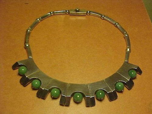 VINTAGE ANTONIO PINEDA 970 SILVER AVENTURINE NECKLACE