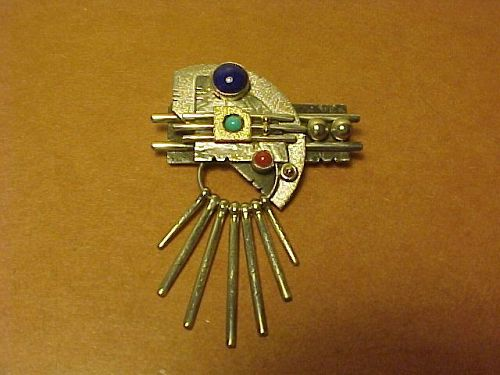 NAVAJO L. EUGENE NELSON STERLING, 14K, CORAL,TURQUOISE, LAPIS PIN
