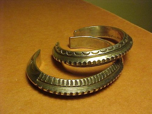 PAIR NAVAJO MARK CHEE HEAVY SILVER STAMPED CUFF BRACELETS