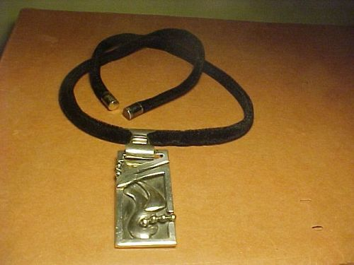 VINTAGE MEXICAN MODERNIST SALVADOR TERAN STERLING PENDANT/PIN NECKLACE