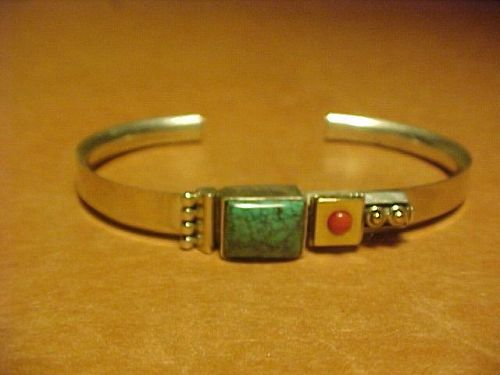 NAVAJO L. EUGENE NELSON STERLING 14K CORAL TURQUOISE CUFF