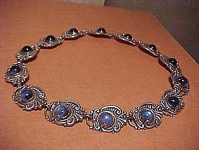 MARGOT DE TAXCO STERLING BLUE GLASS NECKLACE