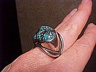 MODERNIST H. FRED SKAGGS ARIZONA TURQUOISE RING