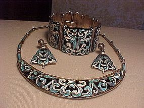 MAGNIFICENT MARGOT DE TAXCO STERLING ENAMEL PARURE