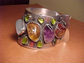 MODERNIST H. FRED SKAGGS STERLING GEMSTONE BRACELET
