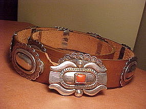 JOE H. QUINTANA  STERLING CORAL CONCHO BELT