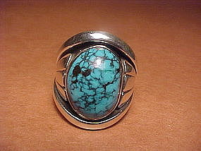 JULIAN LOVATO STERLING LONE MOUNTAIN TURQUOISE RING