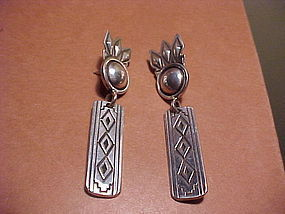 NAVAJO GIBSON NEZ LONG STERLING EARRINGS