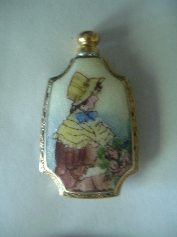 Sterling Silver Guilloche Enamel Perfume Bottle