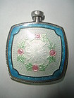 Antique Sterling Silver Guilloche Enamel Perfume Bottle