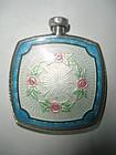 Antique Sterling Silver Guilloche Enamel Perfume Bottle