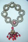 RARE Miriam Haskell Rhinestone Bracelet w/Red Glass