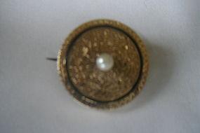 Victorian 14K Gold & Pearl Enamel Brooch/Pin