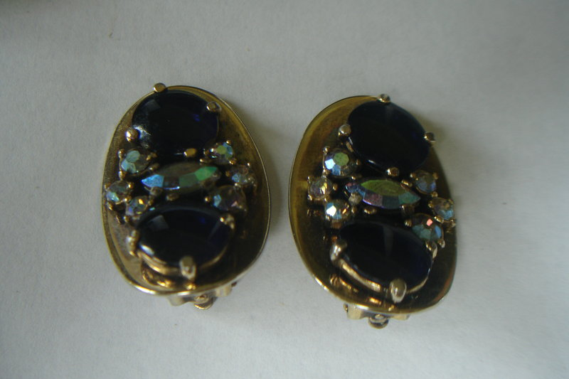Schiaparelli Signed Vintage Earrings Blue w/Rhinestones