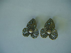 Elsa Schiaparelli Pearl Rhinestone Leaf Earrings