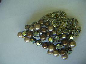 Elsa Schiaparelli Pearl & Rhinestone Grapes Brooch
