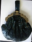 Vintage Blue Sequin Purse with JEWELED FRAME !!