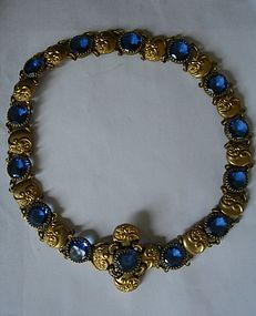 Antique Czech Blue Glass Gilt Necklace or Belt