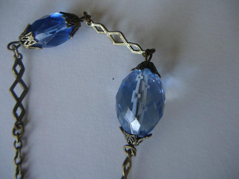 Antique German Czech Faceted Bead Necklace ~Heraldic