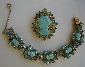 Rare JULIANA Rhinestone Cameo Bracelet & Brooch Set