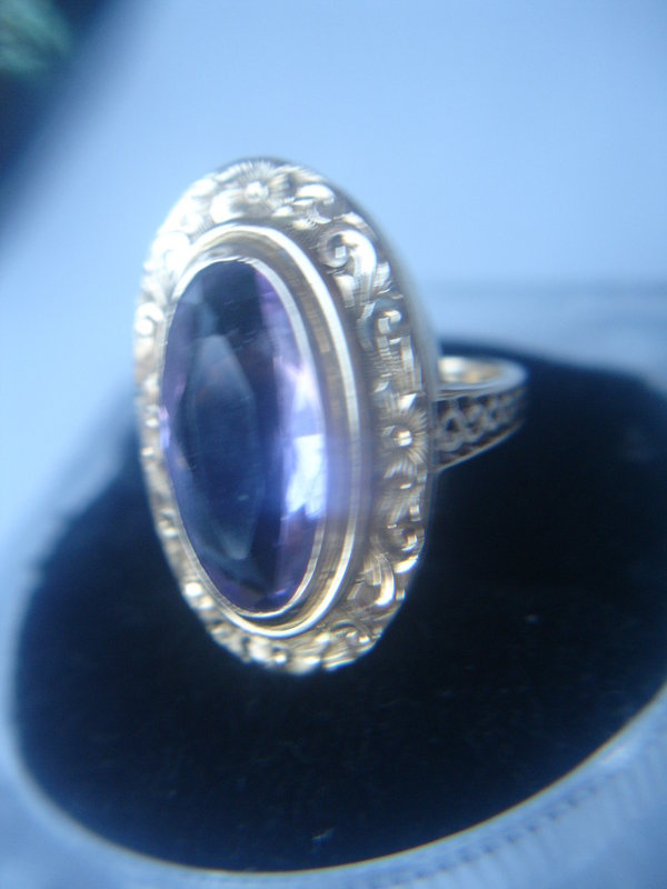 Fancy Large Victorian 14K Gold Amethyst Ring