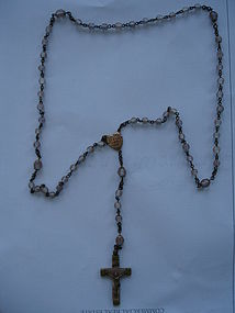 Antique Czech SAPHIRET Glass Gilt Rosary