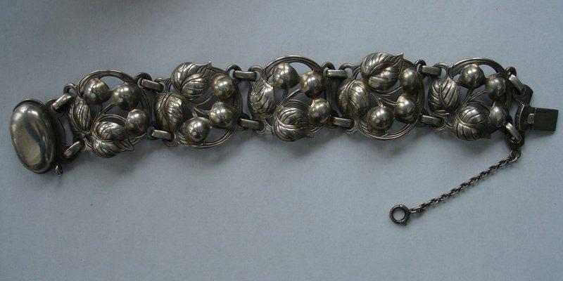 Vintage KALO Sterling Silver Cherries Bracelet # 60