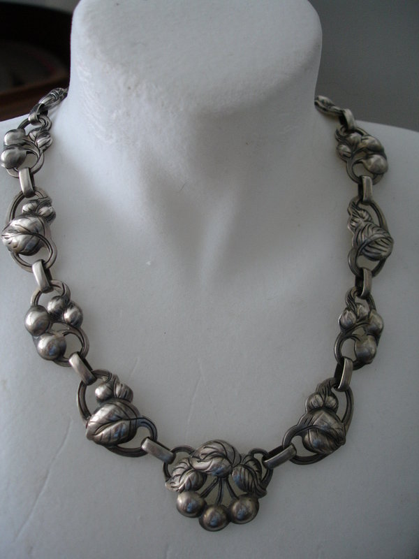 Vintage KALO Sterling Silver Cherries Necklace