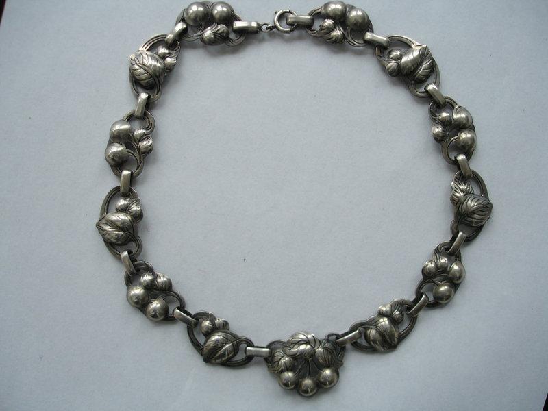 Vintage KALO Sterling Silver Cherries Necklace
