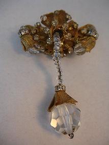 Vintage Miriam Haskell Crystal Rhinestone Drop Brooch