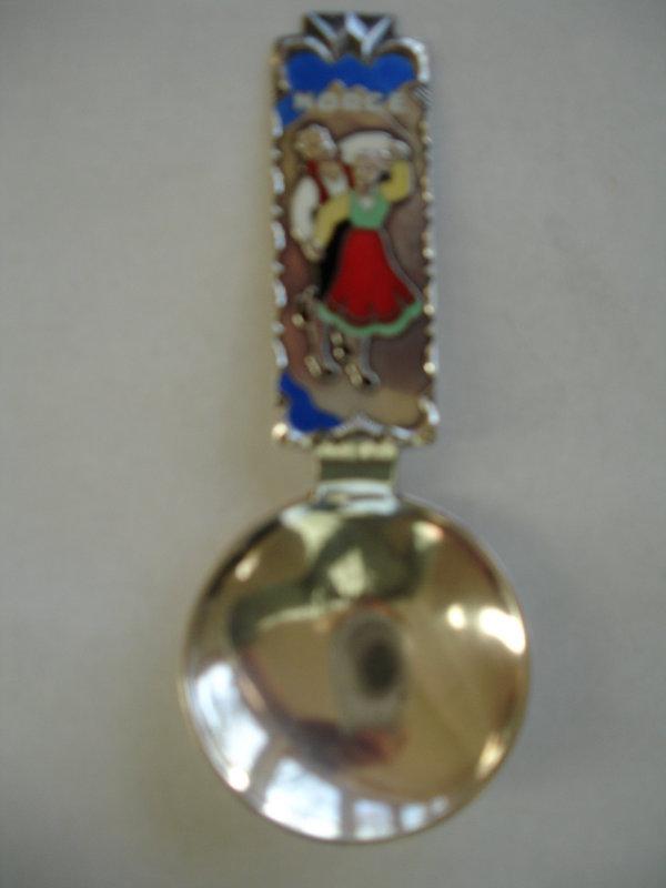 David Andersen Norway Enamel Sterling Tea Caddy Spoon