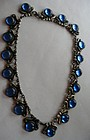 Taxco Mexican Sterling Silver Necklace Blue Glass
