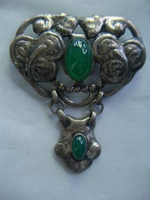 Danish Arts & Crafts  Skonvirke Brooch Chalcedony Cabs