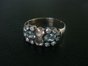 Victorian Rose Gold Aquamarine Topaz Ring