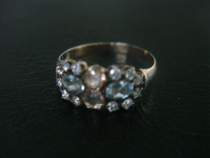 Victorian Rose Gold Aquamarine Topaz Ring