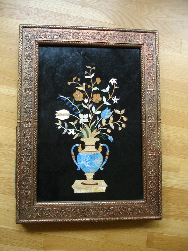 Large Pietra Dura Framed Wall Plaque