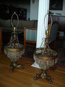 Pair Hollywood Regency Crystal 3 Tier Table Lamps