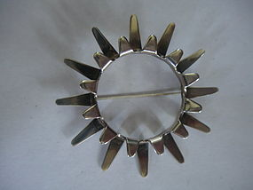 Tone Vigeland Norway Modernist Sterling Sunburst  Pin