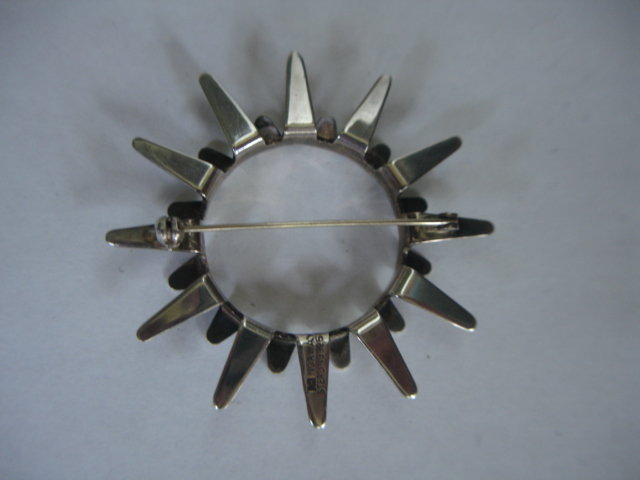 Tone Vigeland Norway Modernist Sterling Sunburst  Pin