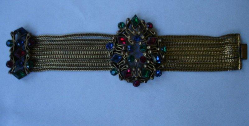 Hobe or Czech Jeweled 10 Strand Bracelet