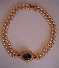 Vintage Ciner Jeweled 2 Strand Pearl Necklace Runway