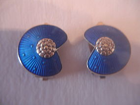 Norway Sterling Silver Guilloche Enamel Earrings