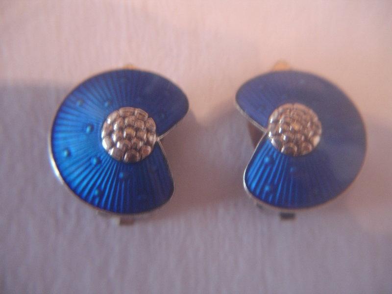 Norway Sterling Silver Guilloche Enamel Earrings