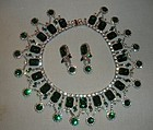 Dominique Rhinestone Bib Necklace and Drop Earrings