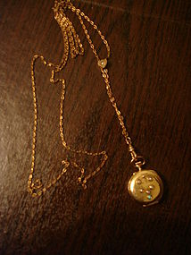 Remontoir 14K Gold 585 Jeweled Pocket Watch and Chain
