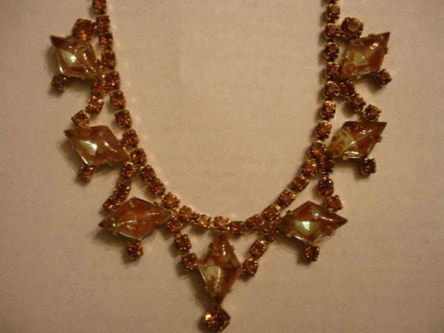 Vintage SAPHIRET Glass and Rhinestone Necklace