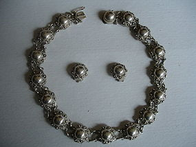 Danish Sterling Silver Pearl Necklace and Earrings Set